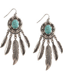 Shyanne Women's Turquoise with Feathers Earrings, , hi-res