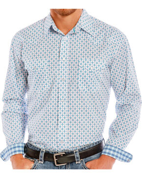 Rough Stock by Panhandle Men's Diamond Patterned Long Sleeve Shirt, White, hi-res