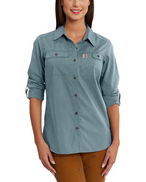 Carhartt Force Women's Ridgefield Shirt, Steel, hi-res