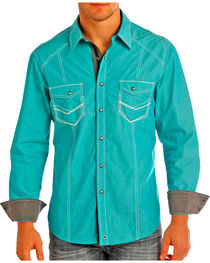 Rock & Roll Cowboy Men's Solid Western Long Sleeve Shirt, , hi-res