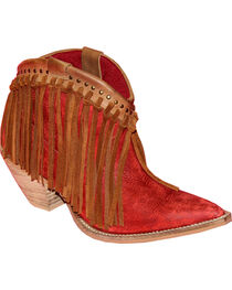 Abilene Women's Brown Fringe Booties - Pointed Toe , , hi-res