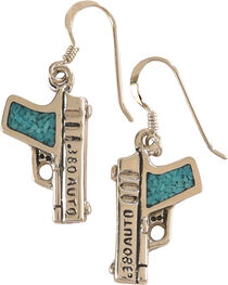 Silver Legends Women's Turquoise 380 Auto Pistol Earrings , , hi-res