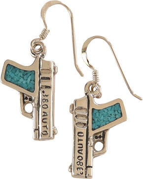 Silver Legends Women's Turquoise 380 Auto Pistol Earrings , Turquoise, hi-res