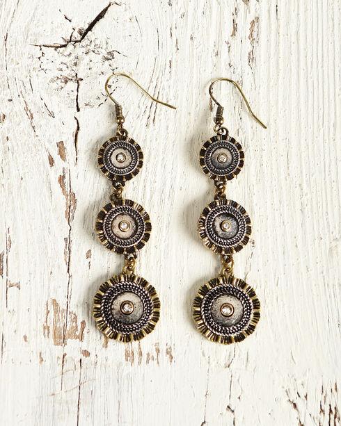 Shyanne Women's Shotgun Shell Concho Earrings, Silver, hi-res