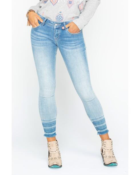 Miss Me Women's Light Indigo Raw Hem Ankle Cuff Jeans - Skinny, Indigo, hi-res