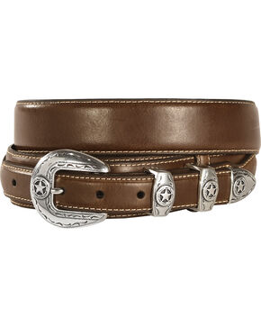 Leather Overlay Ranger Belt, Brown, hi-res