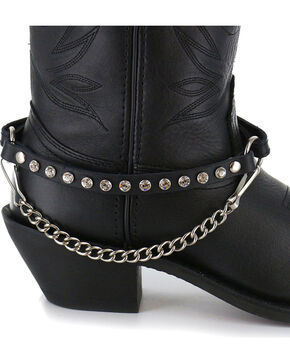 Almax Women's Rhinestone Stud Leather Boot Strap, Black, hi-res