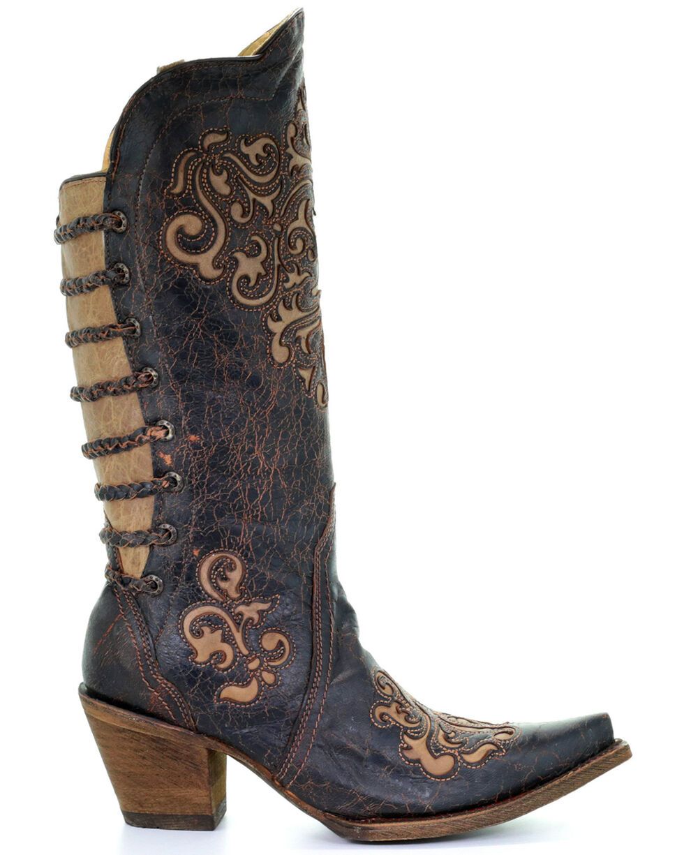 Corral Women's Inlay and Straps Western Boots, Black, hi-res