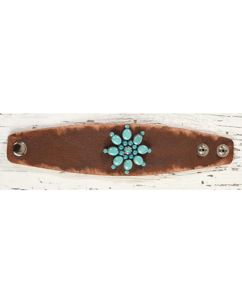 Cowgirl Confetti Women's Turquoise Firework Cuff, Brown, hi-res