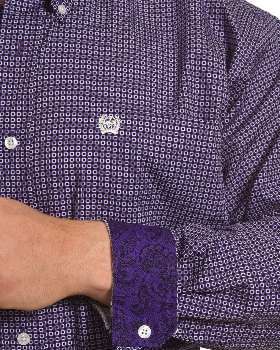 Cinch Men's Purple Geo Plain Weave Print Long Sleeve Shirt, Purple, hi-res