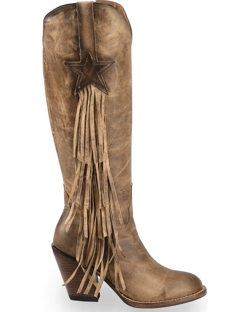 Lucchese Tan Lanie Tall Fringe Boots - Round Toe , Tan, hi-res