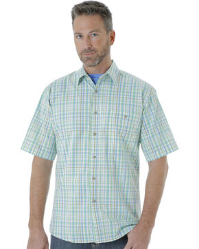 Wrangler Men's Rugged Wear Moisture Wicking Plaid Shirt , Light Green, hi-res