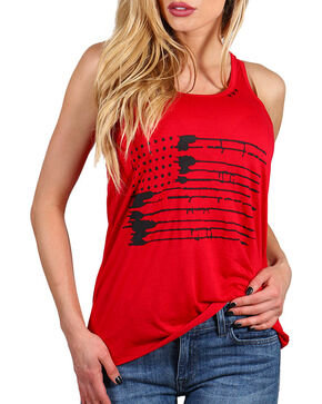 Bohemian Cowgirl Women's Americana Splatter Tank, Red, hi-res