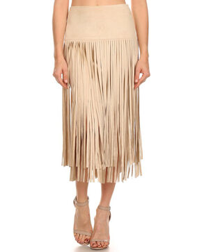 Freeway Apparel Women's Tan Long Fringe Skirt, Cream, hi-res