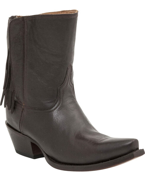 Lucchese Women's Flannery Tassel Shorty Boots, Dark Brown, hi-res