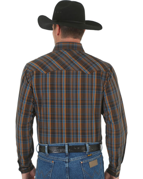 Wrangler Men's Fashion Plaid Long Sleeve Shirt, Brown, hi-res