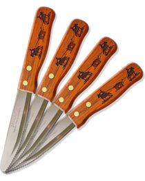 Moss Brothers Laser Engraved Team Roping Steak Knife 4-Piece Set  , , hi-res
