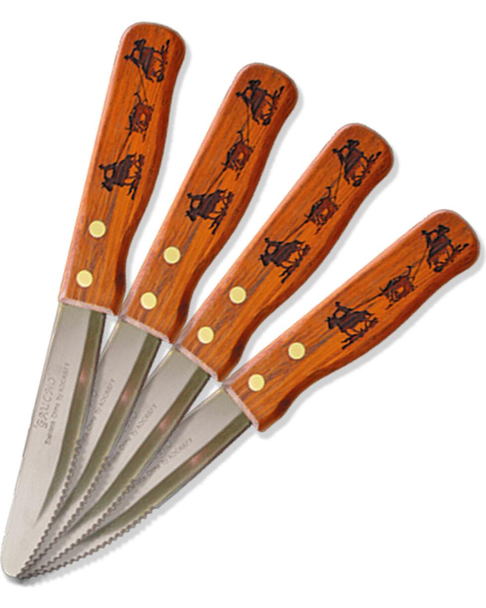 Moss Brothers Laser Engraved Team Roping Steak Knife 4-Piece Set  , Med Brown, hi-res