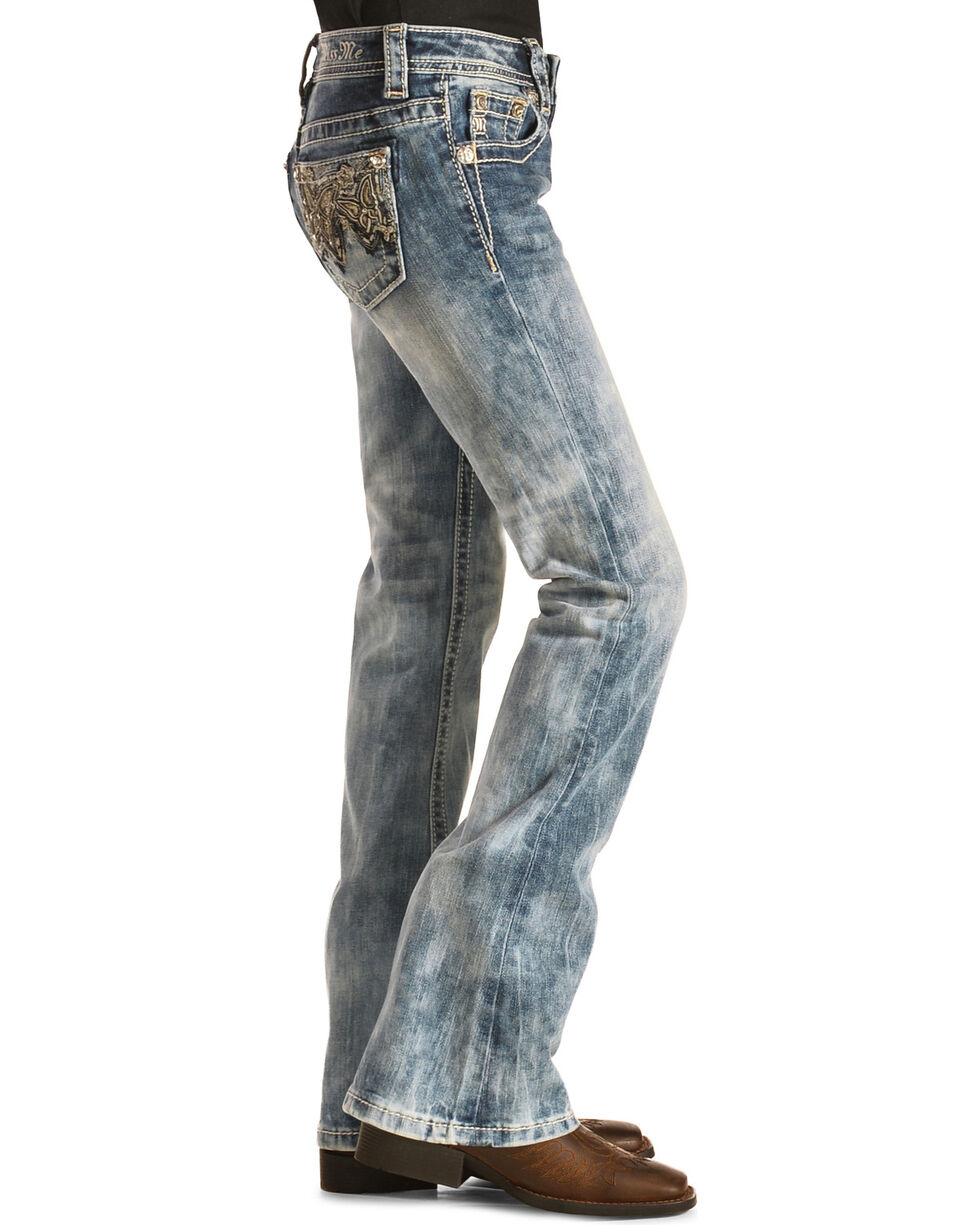Miss Me Girls' Butterfly Bootcut Jeans, , hi-res