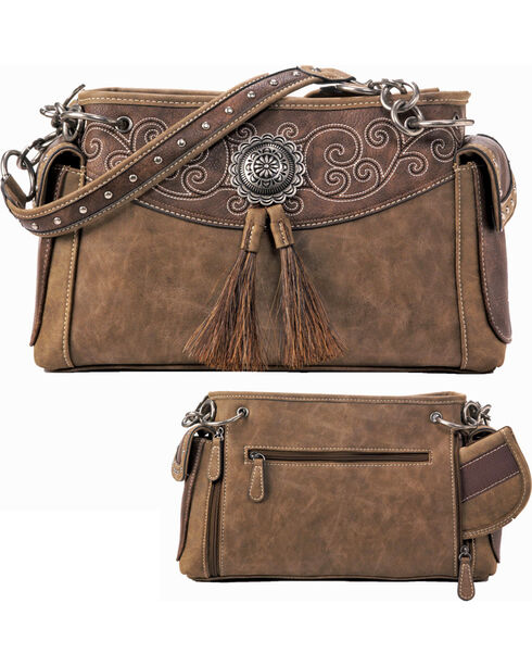 Blazin Roxx Tan Molly Satchel Concealed Carry Handbag, Brown, hi-res
