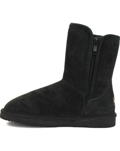Lamo Women's Sellas Short Fringe Winter Boots - Round Toe, Black, hi-res