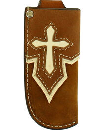 Nocona Ivory Overlay Cross Knife Sheath , , hi-res