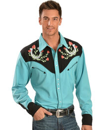 Scully Rose & Horseshoe Embroidered Retro Western Shirt - Big & Tall, , hi-res