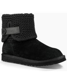 UGG Womens Black Shaina Boots - Round Toe , Black, hi-res