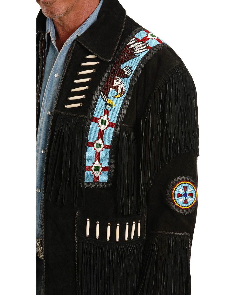 Liberty Wear Eagle Bead Fringed Suede Leather Jacket - Big & Tall, Black, hi-res