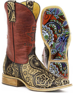 Tin Haul Women's Paisley Rocks Western Boots, Tan, hi-res