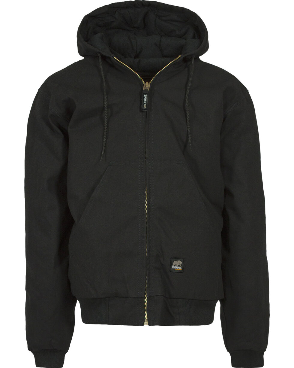 Berne Duck Original Hooded Jacket - 3XL and 4XL, Black, hi-res