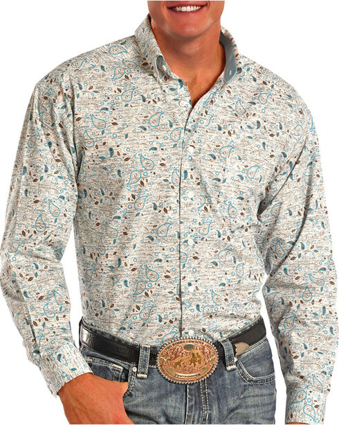 Tuf Cooper Men's Performance Blue Paisley Long Sleeve Shirt, White, hi-res