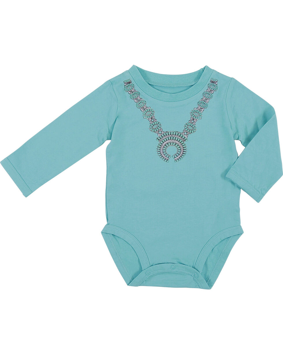 Wrangler Infant Girls' Turquoise Necklace Onesie , Turquoise, hi-res