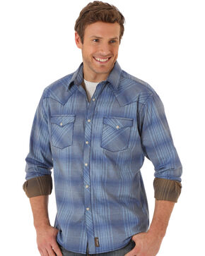 Wrangler Men's Retro Plaid Long Sleeve Shirt, Blue, hi-res