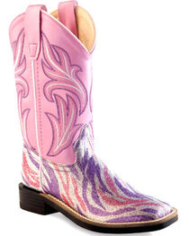 Old West Girls' Pink and Purple Western Boots - Square Toe, , hi-res
