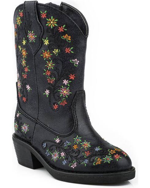 Roper Toddler Girls' Floral Embroidered Cowgirl Boots - Round Toe, Black, hi-res
