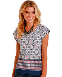 Panhandle Slim Women's Multi Medallion Border Print Top, , hi-res