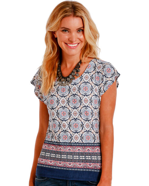 Panhandle Slim Women's Multi Medallion Border Print Top, Multi, hi-res