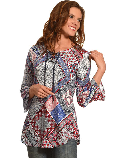 Ruby Rd. Women's Bandana Patchwork Print Top, Navy, hi-res