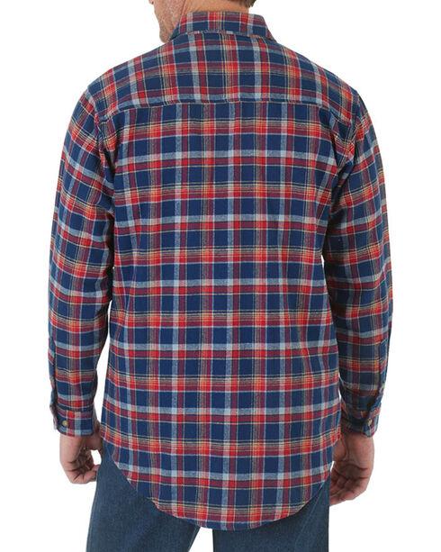 Wrangler Men's Heavyweight Flannel Long Sleeve Shirt, Navy, hi-res