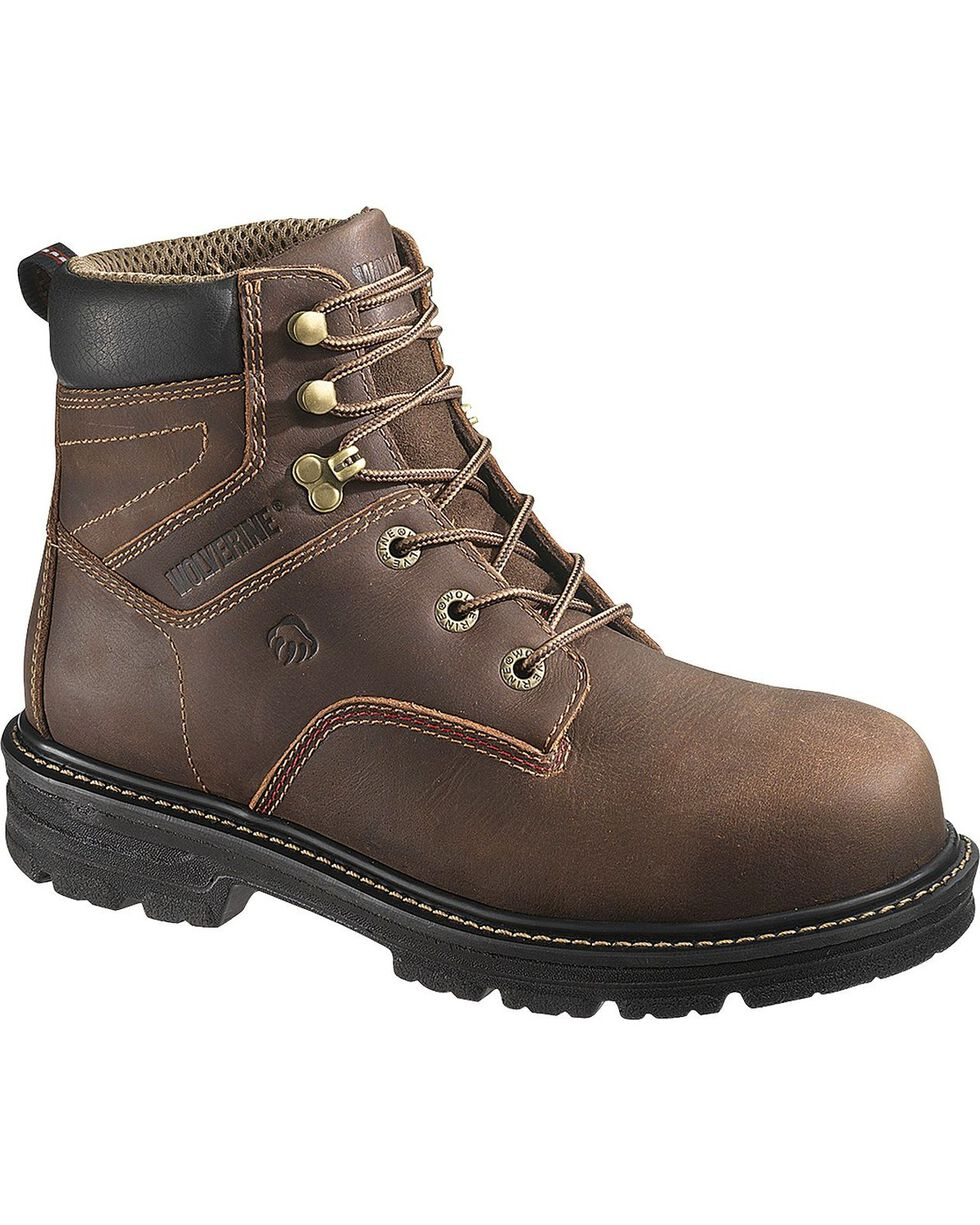 "Wolverine Men's 6"" Nolan Composite Toe WP Work Boots, Dark Brown, hi-res"