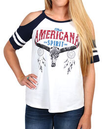 Moa Moa Women's American Spirit Cold Shoulder Top, , hi-res