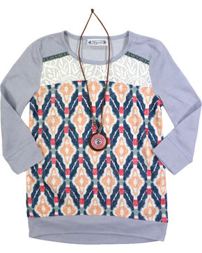 Shyanne Girl's Aztec 3/4 Sleeve Shirt with Necklace, Heather Grey, hi-res