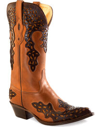 Old West Women's Brown Overlay Leather Western Boots - Pointed Toe , , hi-res