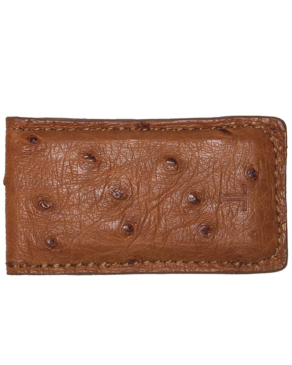 Lucchese Men's Sienna Ostrich Magnetic Money Clip , Cognac, hi-res