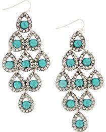 Shyanne® Women's Rhinestone  & Turquoise Chandelier Earrings, , hi-res