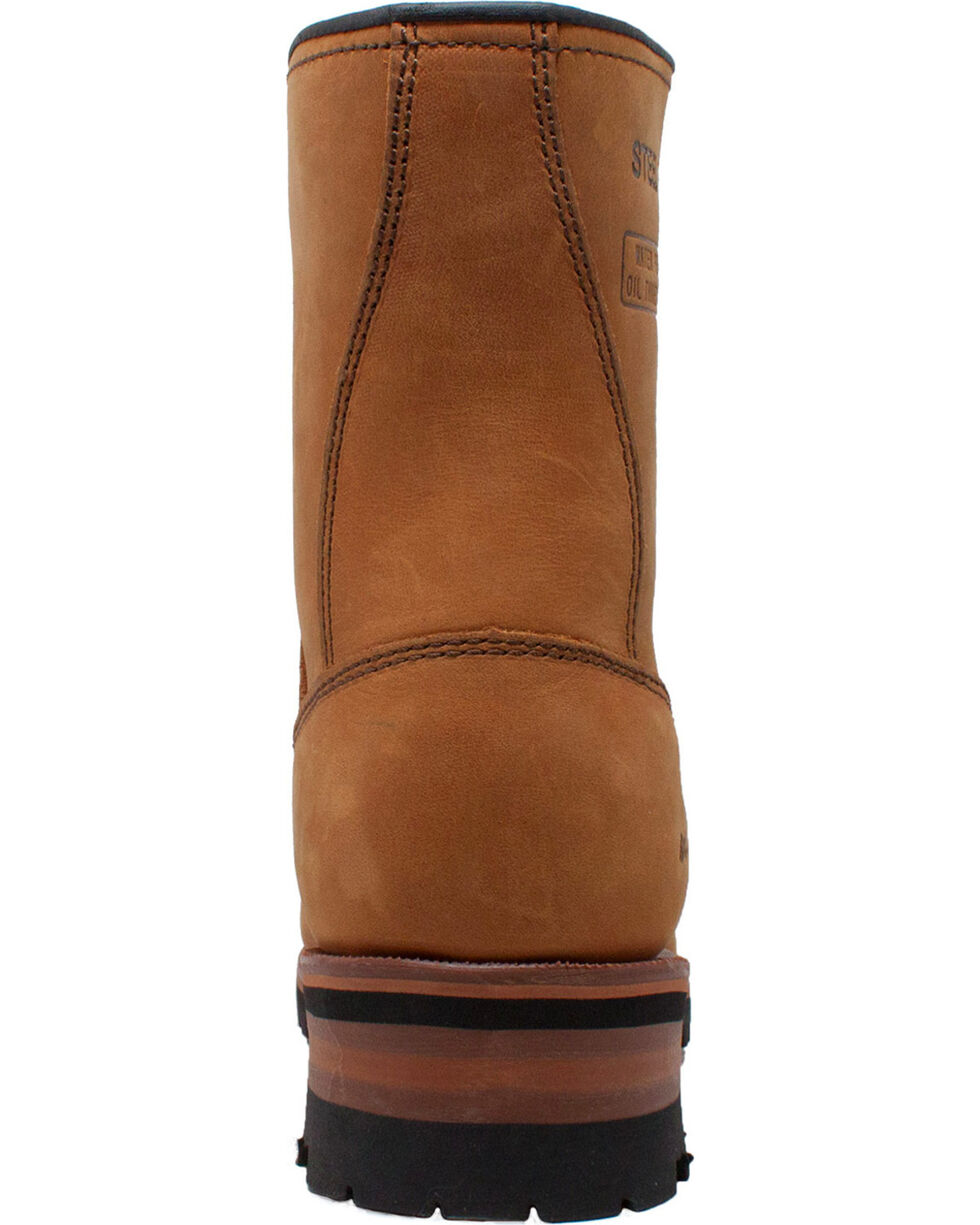 """Ad Tec Men's 9"""" Brown Leather Logger Boots - Steel Toe, Brown, hi-res"""