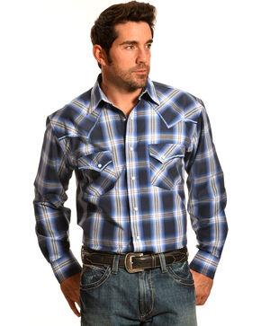 Crazy Cowboy Men's Blue Plaid Stitched Western Snap Shirt , Blue, hi-res