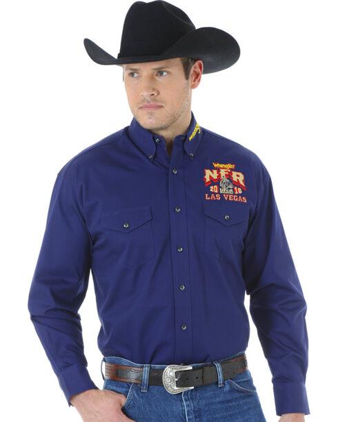 Wrangler Men's NFR Western Logo Shirt, Navy, hi-res