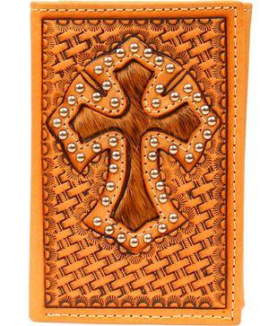 Hair-On-Hide Cross Inlay Basketweave Tri-Fold Wallet, Tan, hi-res